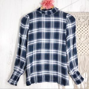 LOFT white blue plaid mock-neck lightweight top